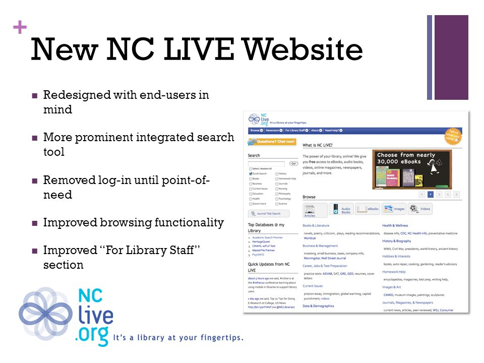 + EBSCOhost Integrated Search (EHIS) Federated Search Tool – allows you to search multiple NC LIVE resources at one time Search options match against NC LIVE Browse Categories Defaults to a quick-search setting Academic Search Premier, MasterFILE Premier Newspaper Source Plus, NC LIVE Catalog Tiered Resources for faster search results Plug-in search widget available