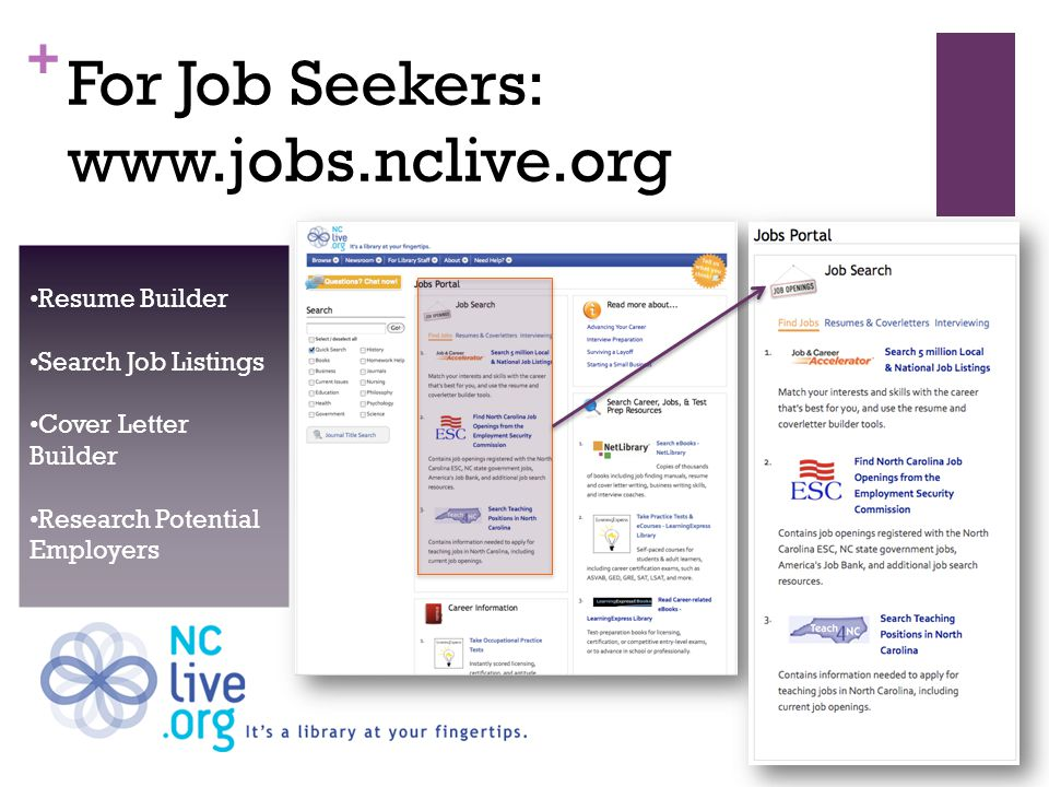 + For Job Seekers: www.jobs.nclive.org Resume Builder Search Job Listings Cover Letter Builder Research Potential Employers