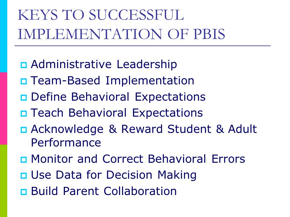 KEYS TO SUCCESSFUL IMPLEMENTATION OF PBIS  Administrative Leadership  Team-Based Implementation  Define Behavioral Expectations  Teach Behavioral Expectations  Acknowledge & Reward Student & Adult Performance  Monitor and Correct Behavioral Errors  Use Data for Decision Making  Build Parent Collaboration