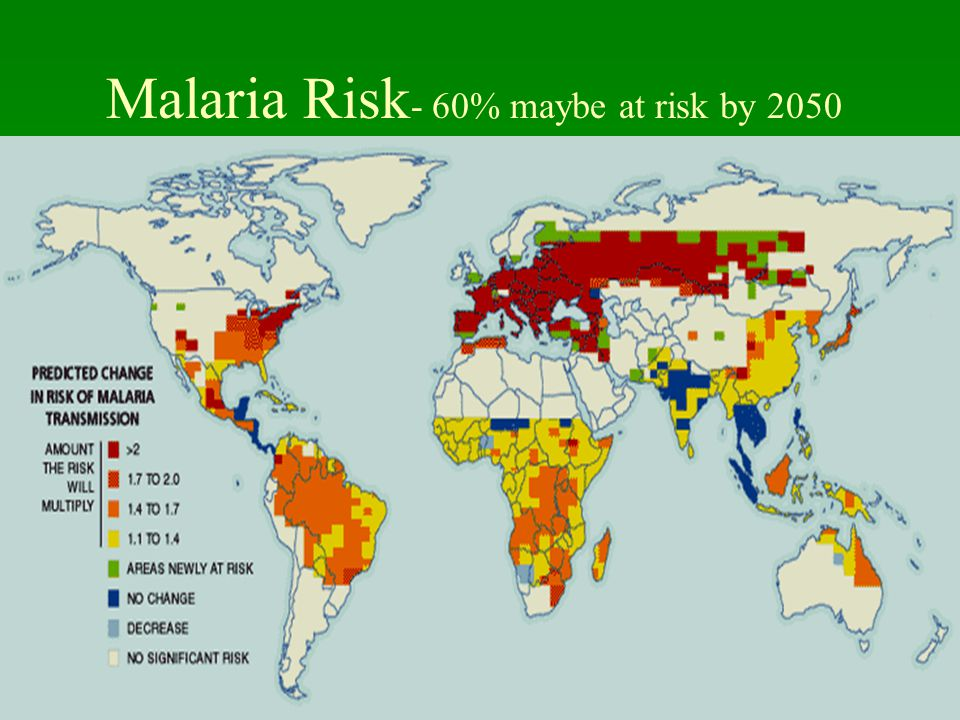 UNC School of Public Health Malaria Risk - 60% maybe at risk by 2050