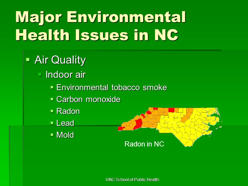 UNC School of Public Health Major Environmental Health Issues in NC  Air Quality  Indoor air  Environmental tobacco smoke  Carbon monoxide  Radon  Lead  Mold Radon in NC
