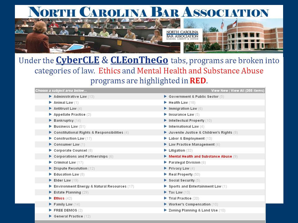 Under the CyberCLE & CLEonTheGo tabs, programs are broken into categories of law.