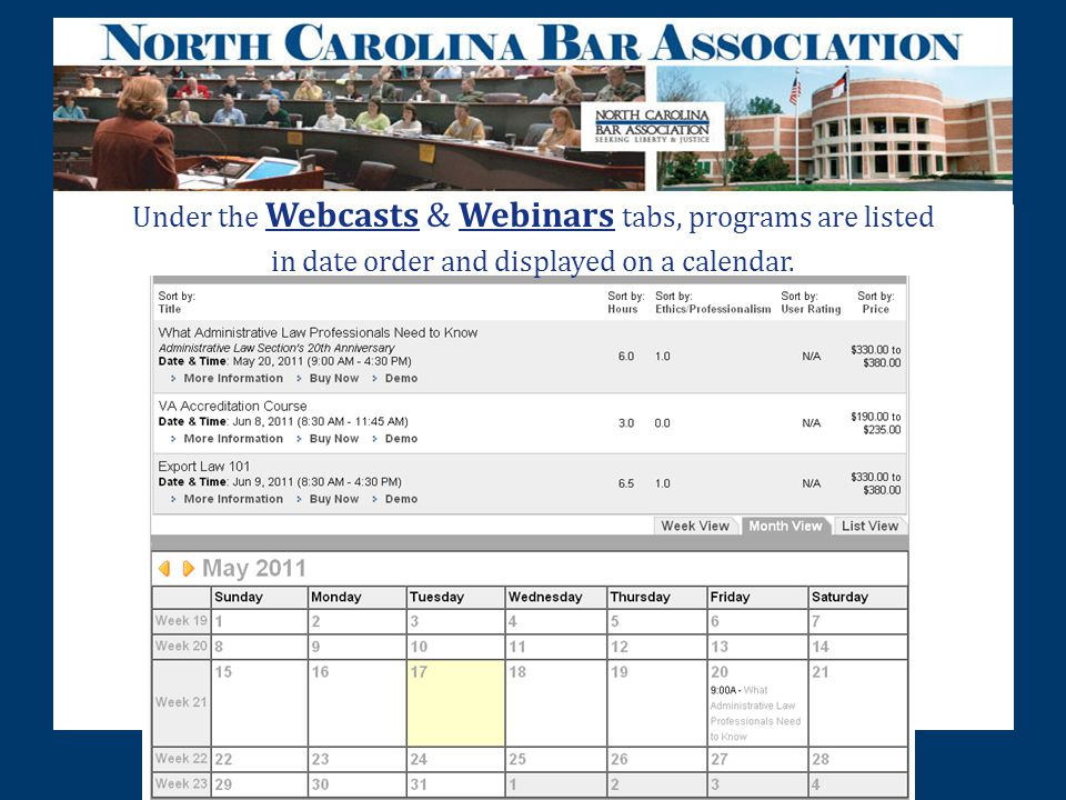 Under the Webcasts & Webinars tabs, programs are listed in date order and displayed on a calendar.