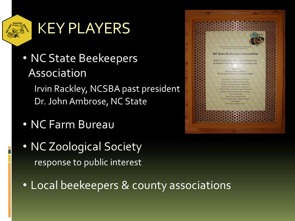 KEY PLAYERS NC State Beekeepers Association NC Farm Bureau NC Zoological Society Local beekeepers & county associations Irvin Rackley, NCSBA past pres