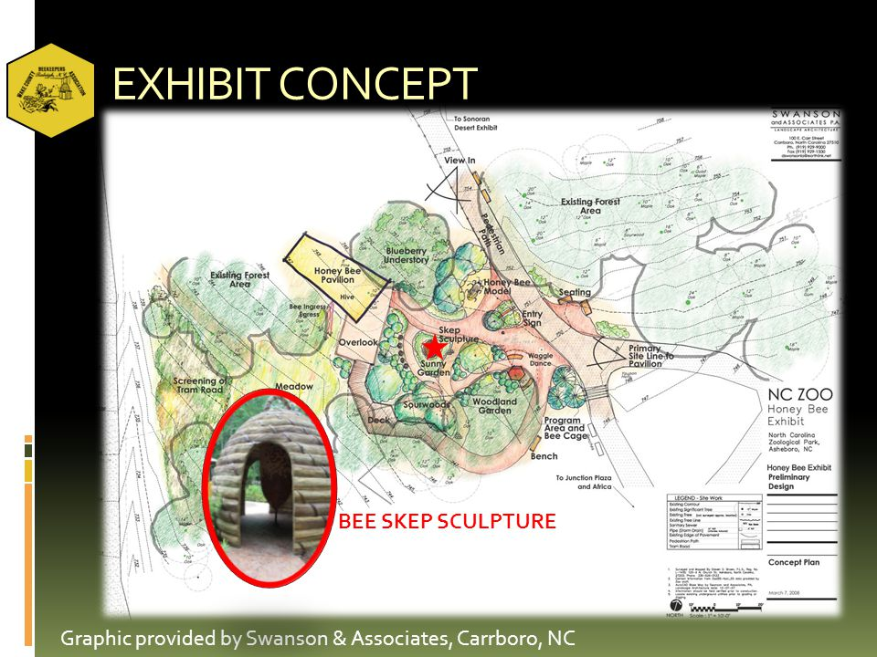 EXHIBIT CONCEPT Graphic provided by Swanson & Associates, Carrboro, NC BEE SKEP SCULPTURE