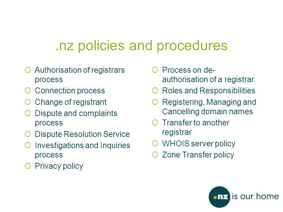 .nz policies and procedures  Authorisation of registrars process  Connection process  Change of registrant  Dispute and complaints process  Dispute Resolution Service  Investigations and Inquiries process  Privacy policy  Process on de- authorisation of a registrar  Roles and Responsibilities  Registering, Managing and Cancelling domain names  Transfer to another registrar  WHOIS server policy  Zone Transfer policy