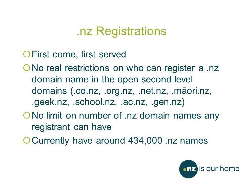 .nz Registrations  First come, first served  No real restrictions on who can register a.nz domain name in the open second level domains (.co.nz,.org.nz,.net.nz,.māori.nz,.geek.nz,.school.nz,.ac.nz,.gen.nz)  No limit on number of.nz domain names any registrant can have  Currently have around 434,000.nz names