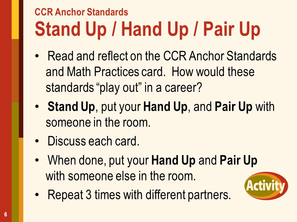 """CCR Anchor Standards Stand Up / Hand Up / Pair Up Read and reflect on the CCR Anchor Standards and Math Practices card. How would these standards """"pla"""