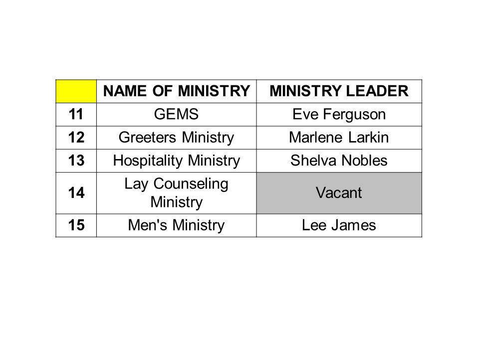 NAME OF MINISTRYMINISTRY LEADER 11GEMSEve Ferguson 12Greeters MinistryMarlene Larkin 13Hospitality MinistryShelva Nobles 14 Lay Counseling Ministry Vacant 15Men s MinistryLee James