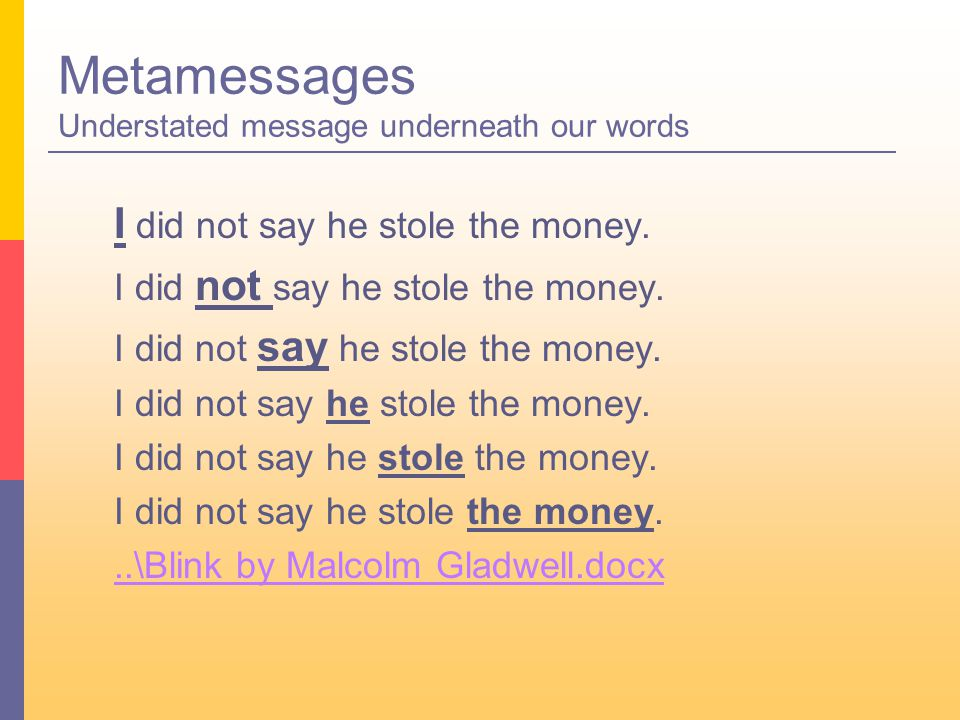 Metamessages Understated message underneath our words I did not say he stole the money...\Blink by Malcolm Gladwell.docx
