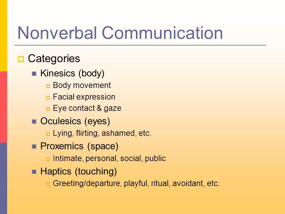 Nonverbal Communication  Categories Kinesics (body)  Body movement  Facial expression  Eye contact & gaze Oculesics (eyes)  Lying, flirting, ashamed, etc.