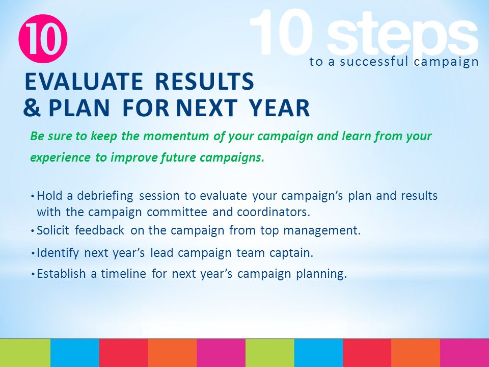 to a successful campaign  EVALUATE RESULTS & PLAN FOR NEXT YEAR Be sure to keep the momentum of your campaign and learn from your experience to improve future campaigns.