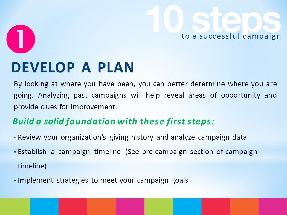 to a successful campaign  DEVELOP A PLAN By looking at where you have been, you can better determine where you are going.