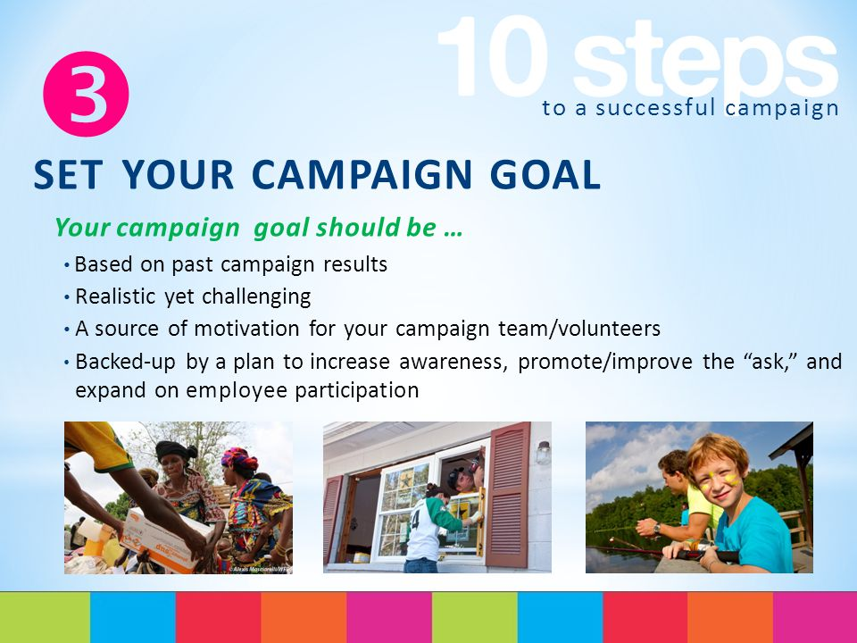 to a successful campaign  SET YOUR CAMPAIGN GOAL Your campaign goal should be … Based on past campaign results Realistic yet challenging A source of motivation for your campaign team/volunteers Backed-up by a plan to increase awareness, promote/improve the ask, and expand on employee participation