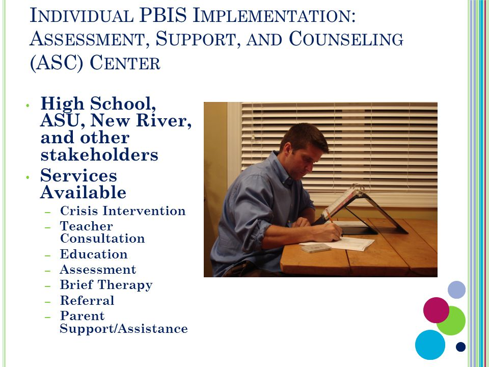 I NDIVIDUAL PBIS I MPLEMENTATION : A SSESSMENT, S UPPORT, AND C OUNSELING (ASC) C ENTER High School, ASU, New River, and other stakeholders Services Available – Crisis Intervention – Teacher Consultation – Education – Assessment – Brief Therapy – Referral – Parent Support/Assistance