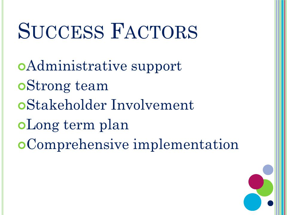 S UCCESS F ACTORS Administrative support Strong team Stakeholder Involvement Long term plan Comprehensive implementation
