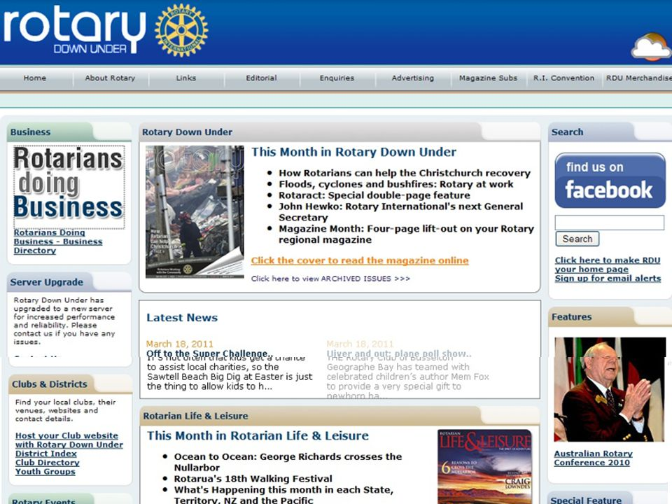 Use RDU magazines that members have finished with to publicise your club and Rotary to: Guest speakers And the public via: Cafes Libraries Waiting rooms At events Rotary Alumni