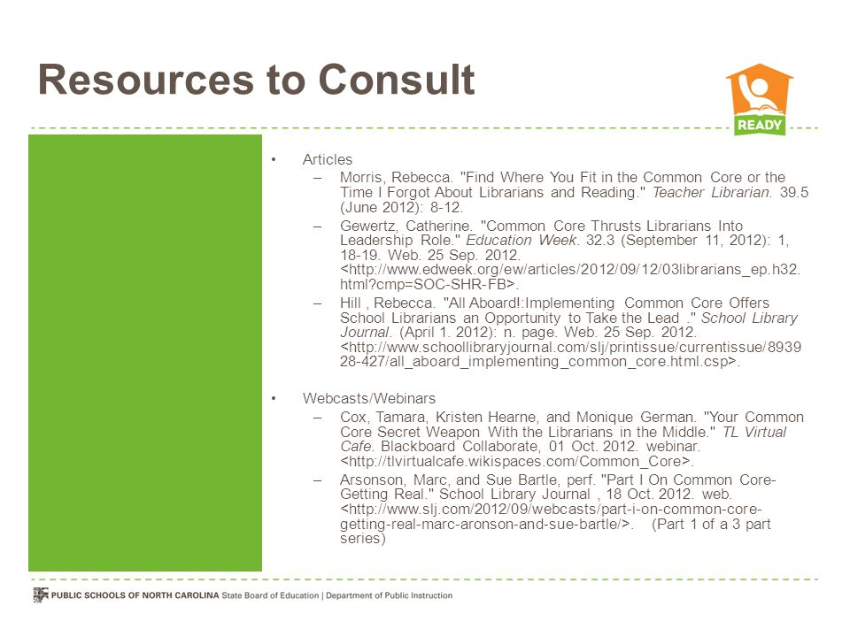 Resources to Consult Articles –Morris, Rebecca.