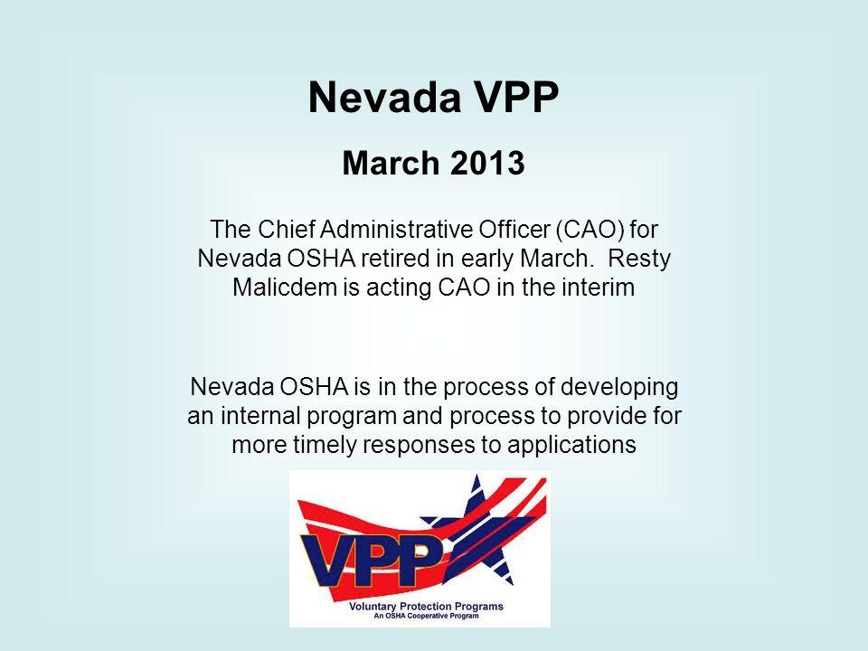 Nevada VPP March 2013 Nevada VPP contact: Jess Lankford, Program Coordinator 1301 N.