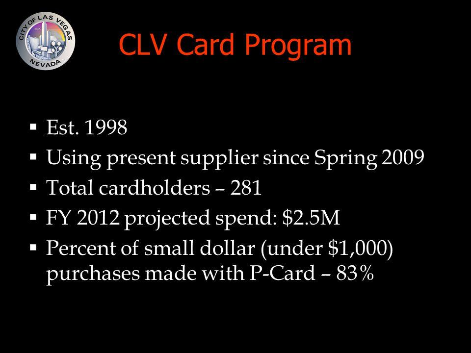 CLV Card Program  Est.