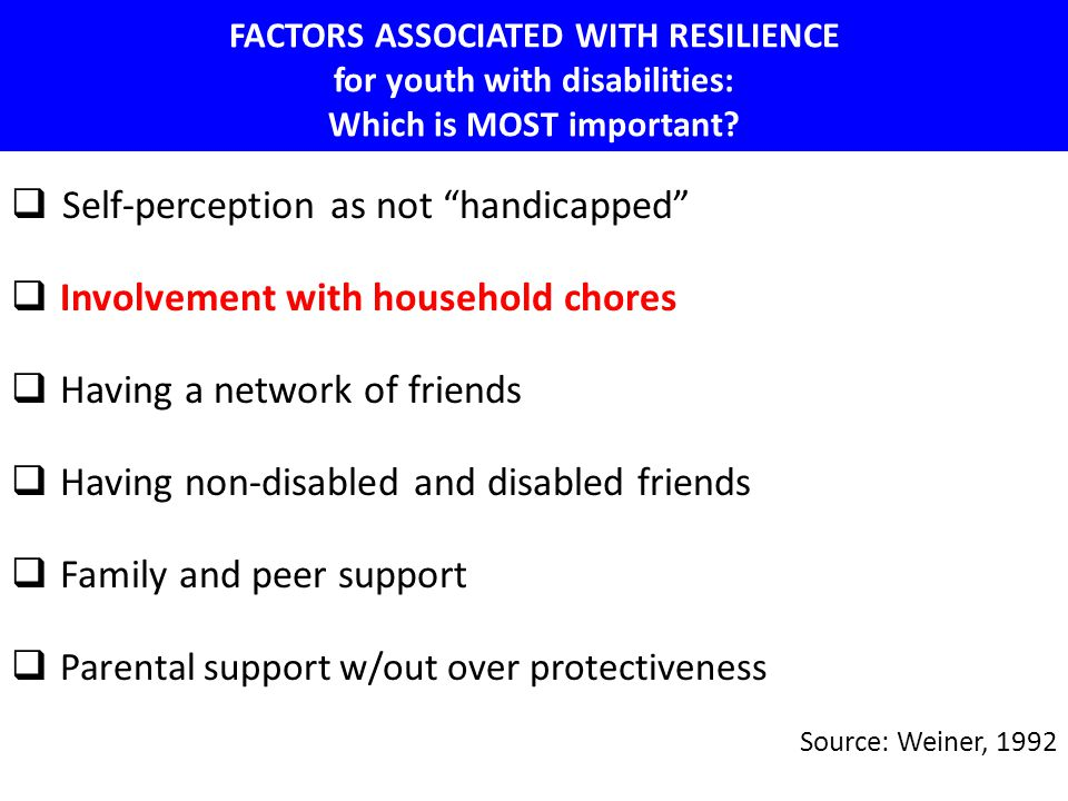"FACTORS ASSOCIATED WITH RESILIENCE for youth with disabilities: Which is MOST important?  Self-perception as not ""handicapped""  Involvement with hou"