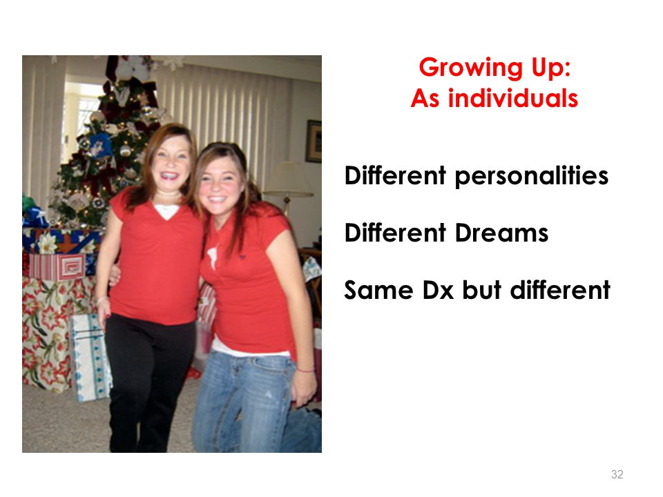 Growing Up: As individuals Different personalities Different Dreams Same Dx but different 32