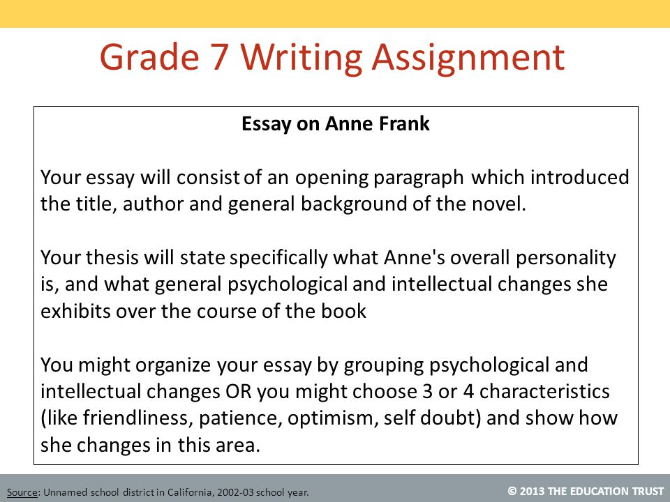 © 2013 THE EDUCATION TRUST Source: Unnamed school district in California, 2002-03 school year. Essay on Anne Frank Your essay will consist of an openi