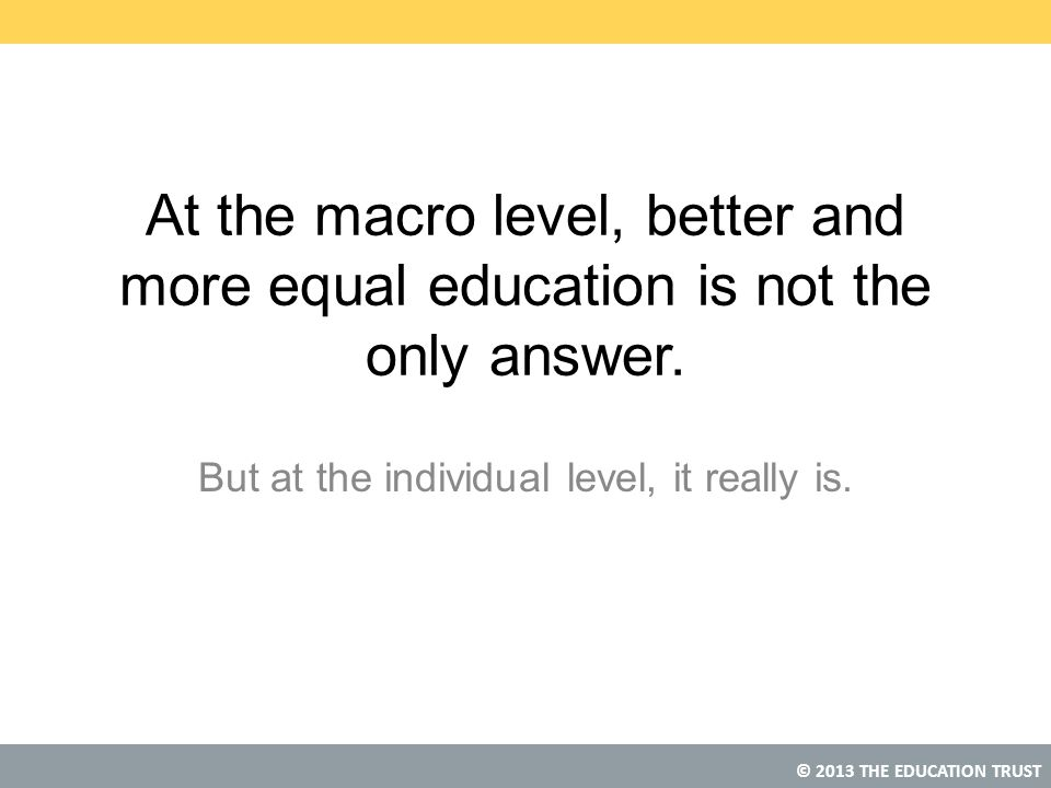 © 2013 THE EDUCATION TRUST At the macro level, better and more equal education is not the only answer.