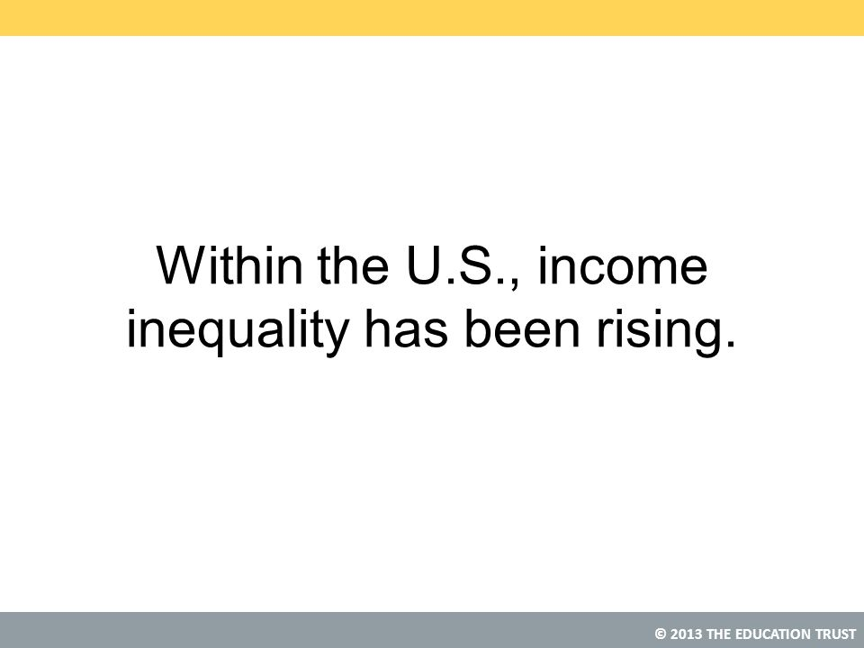 © 2013 THE EDUCATION TRUST Within the U.S., income inequality has been rising.
