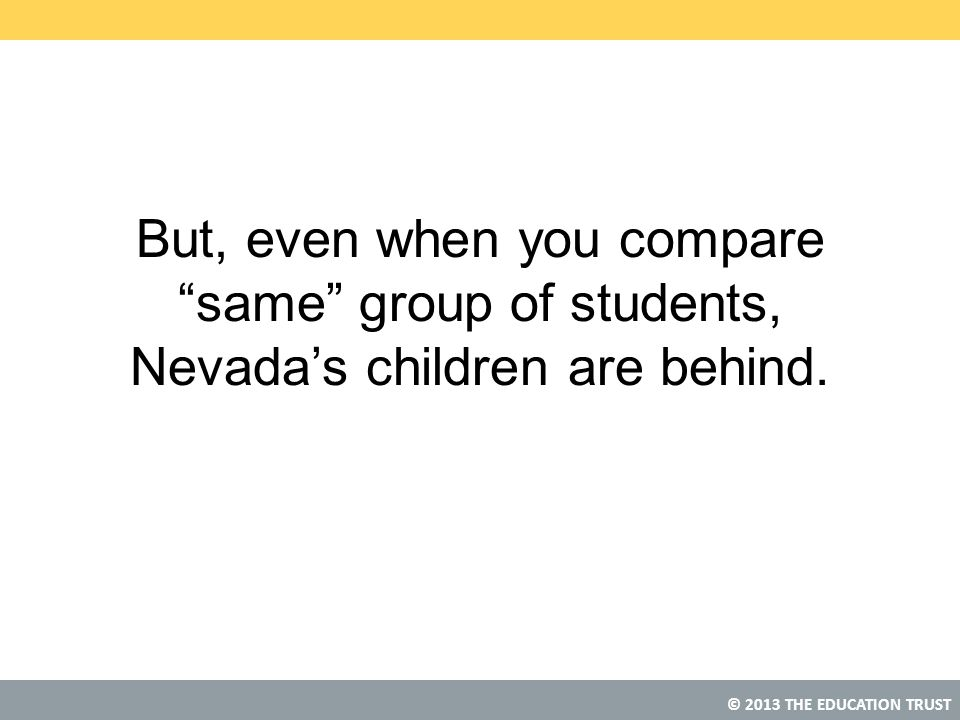 """© 2013 THE EDUCATION TRUST But, even when you compare """"same"""" group of students, Nevada's children are behind."""