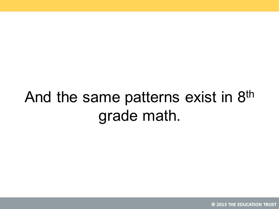 © 2013 THE EDUCATION TRUST And the same patterns exist in 8 th grade math.
