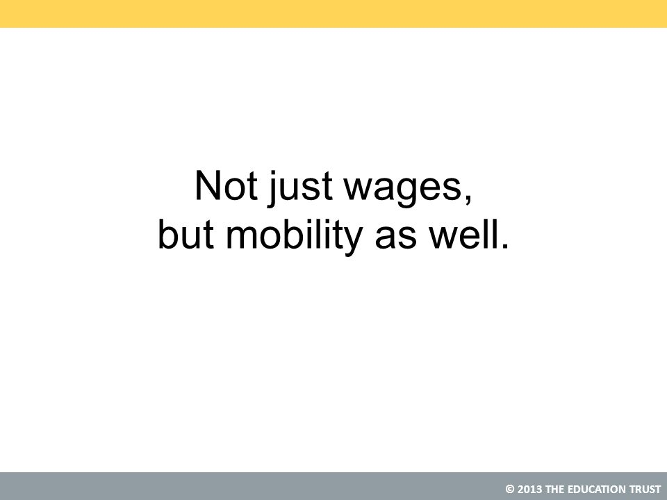 © 2013 THE EDUCATION TRUST Not just wages, but mobility as well.