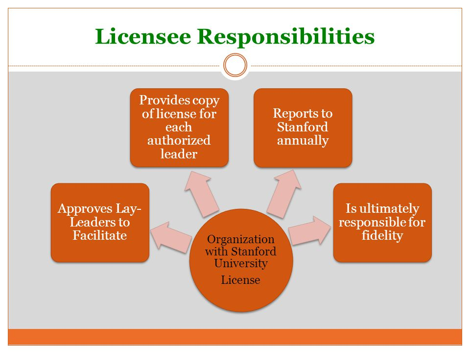 Licensee Responsibilities Organization with Stanford University License Approves Lay- Leaders to Facilitate Provides copy of license for each authorized leader Reports to Stanford annually Is ultimately responsible for fidelity