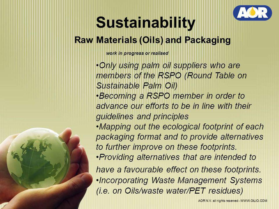 Sustainability Raw Materials (Oils) and Packaging work in progress or realised Only using palm oil suppliers who are members of the RSPO (Round Table on Sustainable Palm Oil) Becoming a RSPO member in order to advance our efforts to be in line with their guidelines and principles Mapping out the ecological footprint of each packaging format and to provide alternatives to further improve on these footprints.
