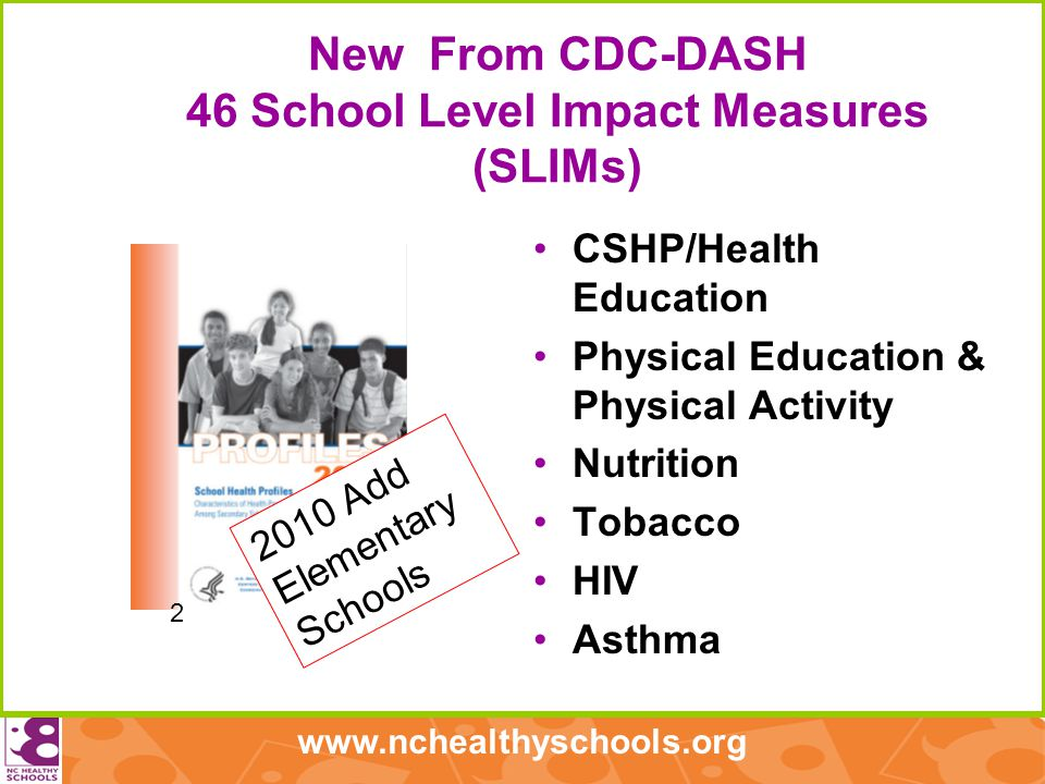 www.nchealthyschools.org New From CDC-DASH 46 School Level Impact Measures (SLIMs) CSHP/Health Education Physical Education & Physical Activity Nutrition Tobacco HIV Asthma 2 2010 Add Elementary Schools