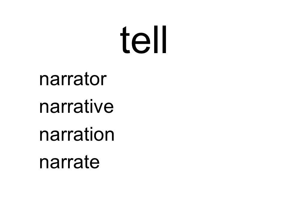 tell narrator narrative narration narrate