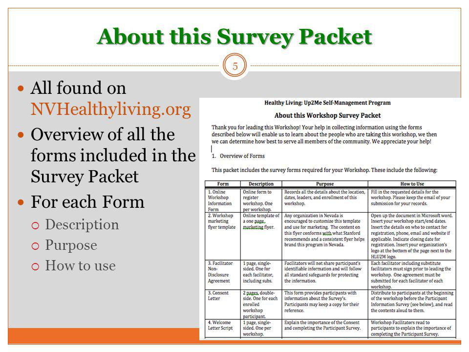 5 All found on NVHealthyliving.org Overview of all the forms included in the Survey Packet For each Form  Description  Purpose  How to use About th