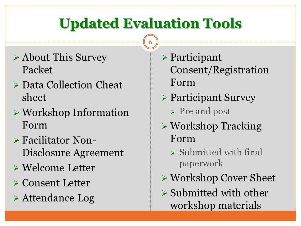 Updated Evaluation Tools 6  About This Survey Packet  Data Collection Cheat sheet  Workshop Information Form  Facilitator Non- Disclosure Agreement  Welcome Letter  Consent Letter  Attendance Log  Participant Consent/Registration Form  Participant Survey  Pre and post  Workshop Tracking Form  Submitted with final paperwork  Workshop Cover Sheet  Submitted with other workshop materials