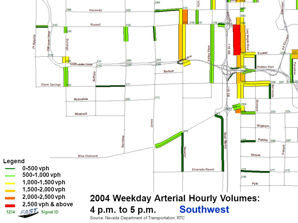 2004 Weekday Arterial Hourly Volumes: 4 p.m. to 5 p.m. Southwest Source: Nevada Department of Transportation, RTC Legend 0-500 vph 500-1,000 vph 1,000