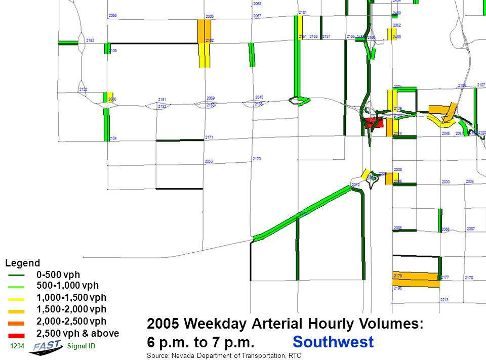 2005 Weekday Arterial Hourly Volumes: 6 p.m. to 7 p.m.
