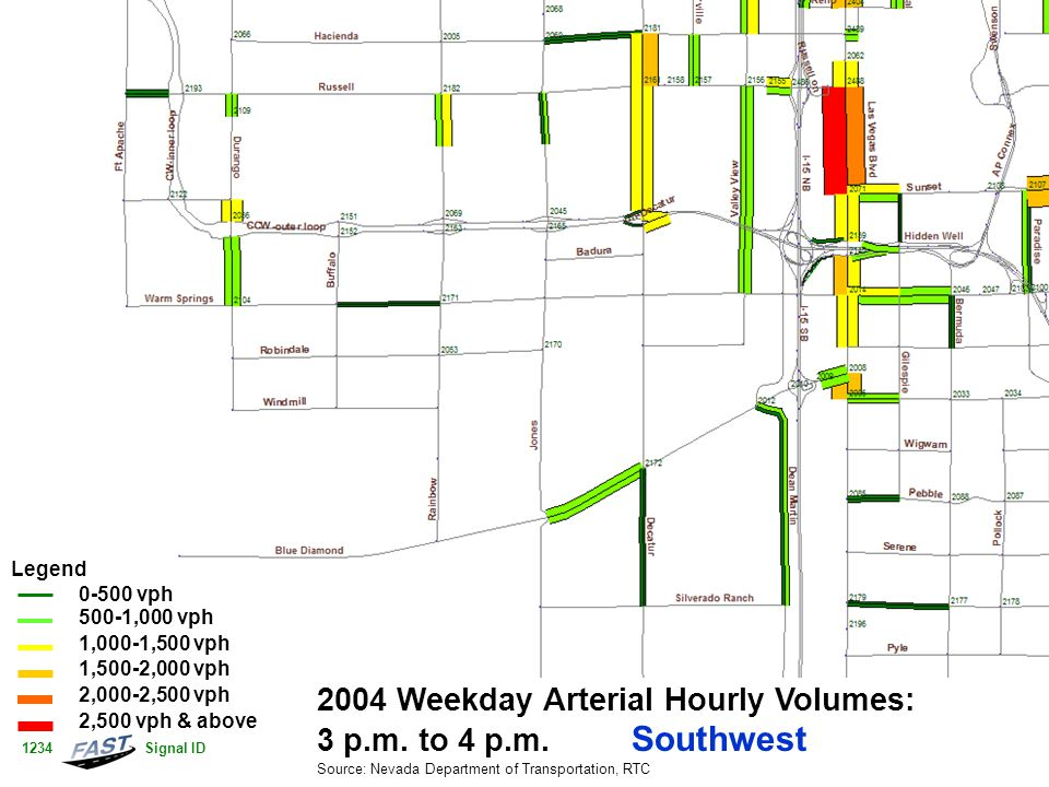 2004 Weekday Arterial Hourly Volumes: 3 p.m. to 4 p.m.