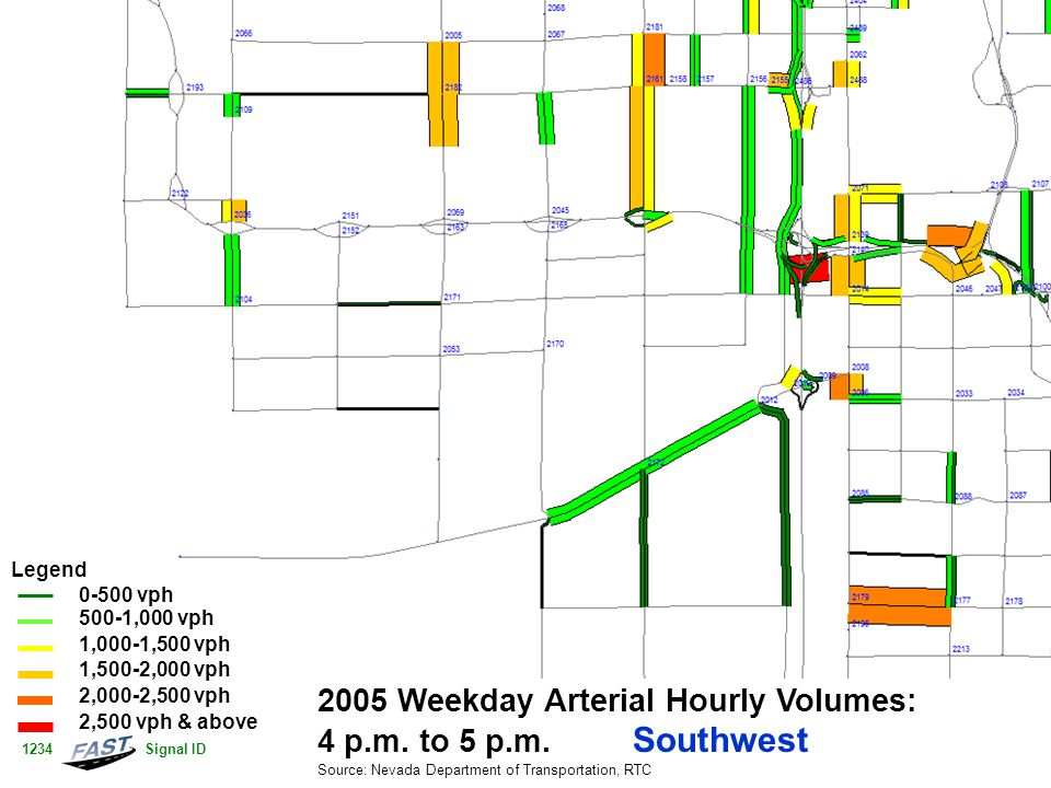 2005 Weekday Arterial Hourly Volumes: 4 p.m. to 5 p.m.