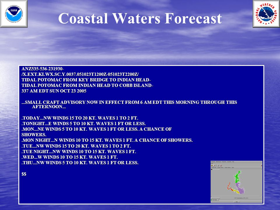 Coastal Waters ForecastANZ535-536-231930-/X.EXT.KLWX.SC.Y.0037.051023T1200Z-051023T2200Z/ TIDAL POTOMAC FROM KEY BRIDGE TO INDIAN HEAD- TIDAL POTOMAC