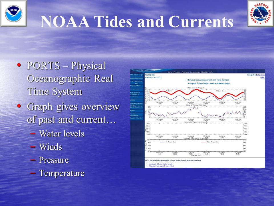 NOAA Tides and Currents PORTS – Physical Oceanographic Real Time System PORTS – Physical Oceanographic Real Time System Graph gives overview of past a