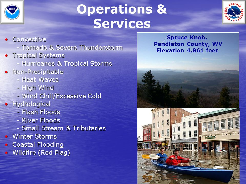 Operations & Services (cont.) ForecastsForecasts - Public - Marine - Aviation - Fire Weather - River Support ServicesSupport Services - Homeland Security Data CollectionData Collection - Climate - Cooperative Observers