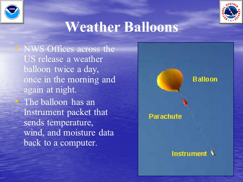 Weather Balloons NWS Offices across the US release a weather balloon twice a day, once in the morning and again at night. The balloon has an Instrumen