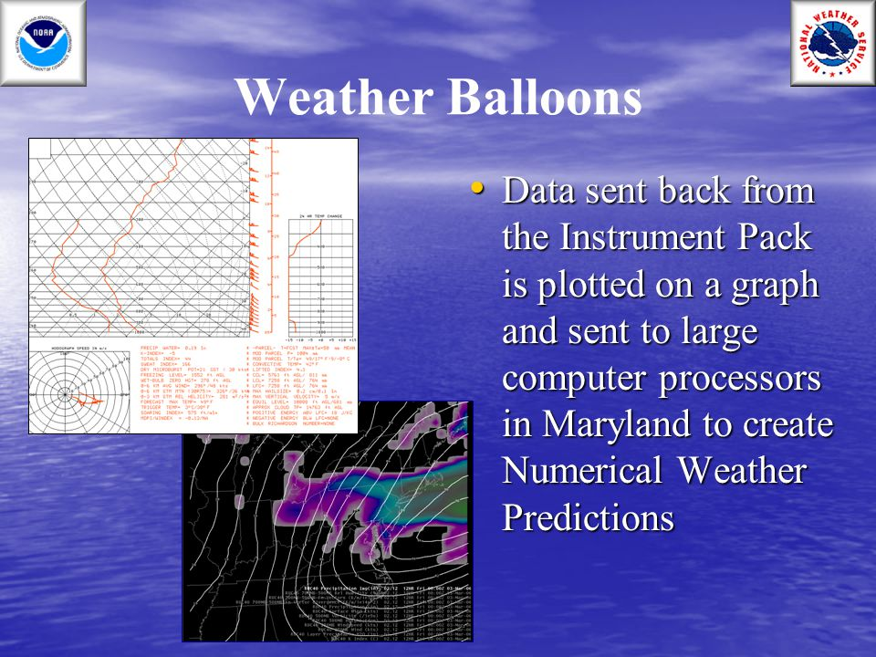 Weather Balloons Data sent back from the Instrument Pack is plotted on a graph and sent to large computer processors in Maryland to create Numerical W