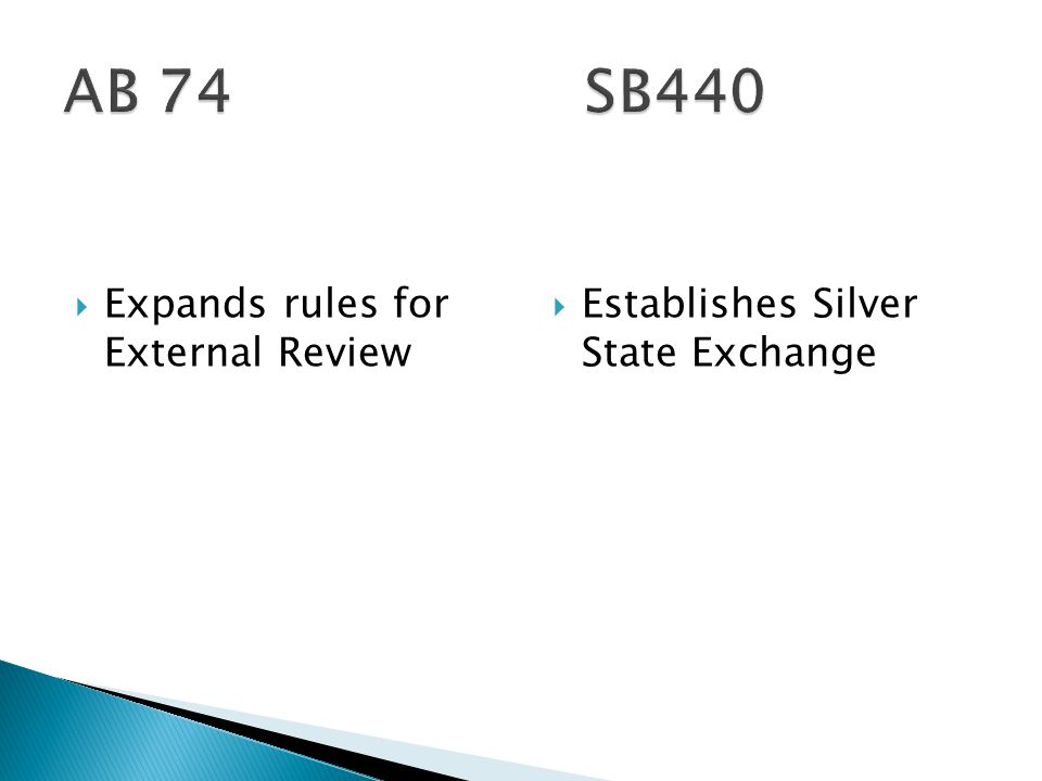  Expands rules for External Review  Establishes Silver State Exchange
