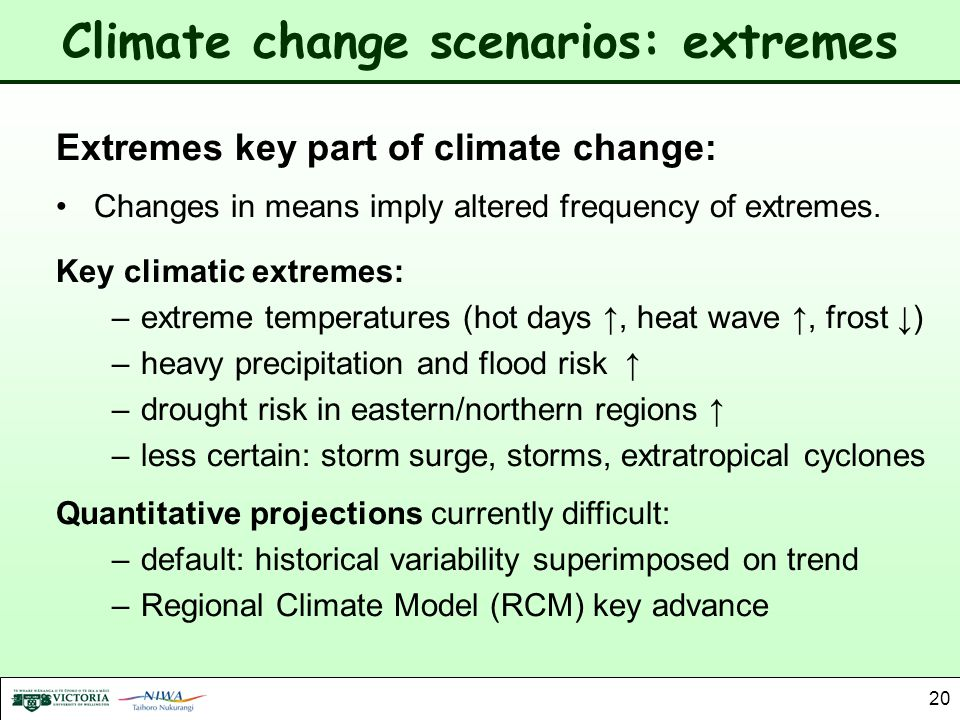 20 Climate change scenarios: extremes Extremes key part of climate change: Changes in means imply altered frequency of extremes. Key climatic extremes