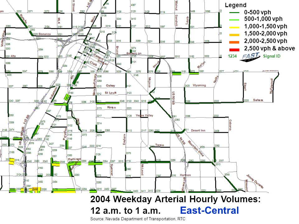 2004 Weekday Arterial Hourly Volumes: 1 a.m.to 2 a.m.